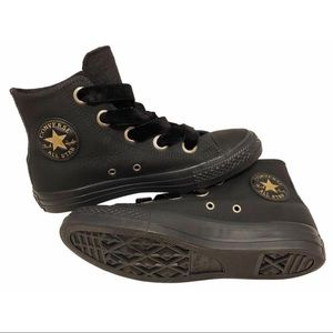 NEW Converse Black Leather Gold High Top Sneakers